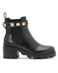 Gucci Embellished Detail 50mm Ankle Boots - Black
