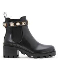 Gucci Embellished Detail 50mm Ankle Boots - Black