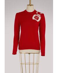 Miu Miu Clock Embellished Wool Sweater - Red