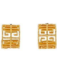 Givenchy 4g Logo Hoop Earrings - Metallic