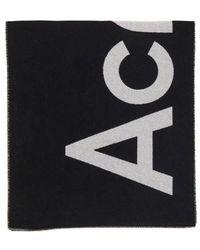 Acne Studios Logo All Over Scarf - Black