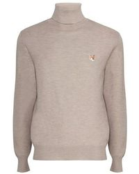 Maison Kitsuné Fox Head Patch Turtleneck Sweater - Multicolor