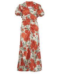 Ganni Robe en soie stretch - Rouge