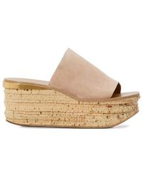 Chloé Camille Leather Mules - Natural