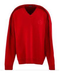 Balenciaga V-neck Sweater - Red