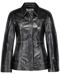 Ganni Veste chemise en cuir - Noir