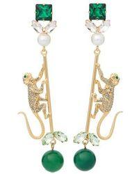 Erdem Monkey Drop Earrings - Green
