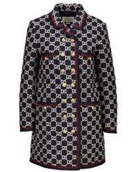 Gucci GG-jacquard Tweed Single-breasted Coat - Multicolor