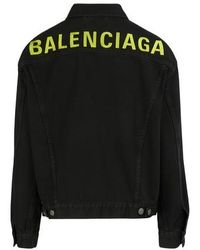 Balenciaga Denim jacket with logo - Schwarz