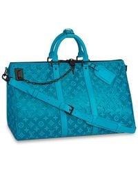 Louis Vuitton Sac Keepall Triangle Bandoulière 50 - Bleu
