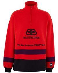 Balenciaga - Sweat-shirt en coton semi-zippé Rive Gauche - Lyst