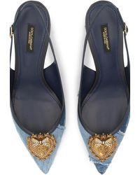 Dolce & Gabbana Patchwork-Slingbacks aus Denim - Blau