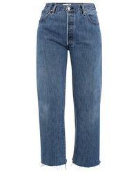 RE/DONE Ultra High Rise Wide Leg Crop Jeans - Blue