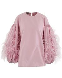 Valentino Top With Feathered Sleeves - Purple