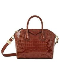 Givenchy Antigona Small Crocodile-stamped Leather Duffel Bag - Red
