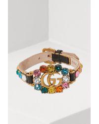Gucci - GG Leather Bracelet - Lyst