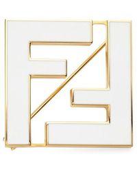 Fendi Broche Ff - Blanc