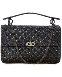 Valentino Gavarani Rockstud Large Spike Shoulder Bag - Black