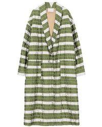 Momoní Matera Coat In Striped Matelassé Taffeta - Green