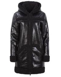 Apparis Ariana Mixed Media Mid Length Hooded Coat - Black