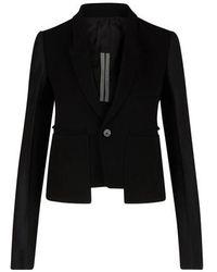 Rick Owens Blended Wool Jacket - Black