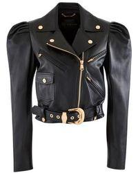 Versace Leather Blouson Jacket - Black