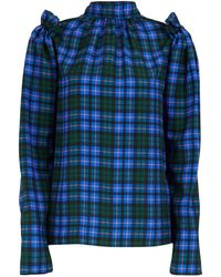 MSGM Plaid Long-sleeved Top - Blue