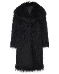 Alberta Ferretti Faux-fur Long Coat - Black