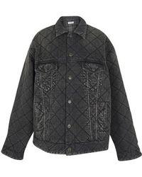 Balenciaga Veste en jean matelassée - Noir
