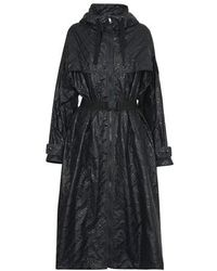 Moncler Bouteille Embossed Nylon Trench Coat - Black
