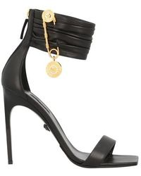 Versace Lamb Leather Heeled Sandals - Black