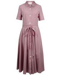 Mansur Gavriel Gingham Shirt Dress - Purple