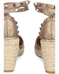 Valentino Shaft Sandals Rockstud Wedge Deerskin Logo Nude - Natural