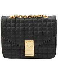 Celine Small C Bag In Quilted Calfskin - Black