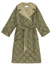 Ganni Recycled Ripstop Quilted Coat - Green
