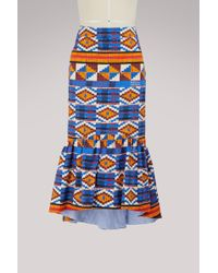 Stella Jean - Patterned Skirt With Ruffles - Lyst