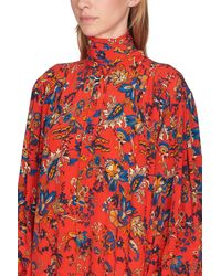 Givenchy Long Floral Print Silk Dress - Red