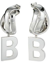 Balenciaga Twirl B Earrings - Metallic