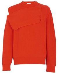 Bottega Veneta Round Neck Cachemire Intrecciato Knit - Orange