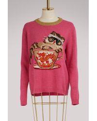 Gucci - Cat & Glasses Knit Sweater - Lyst