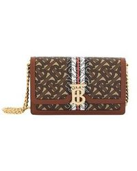 Burberry Small Monogram Stripe Wallet On Chain - Brown