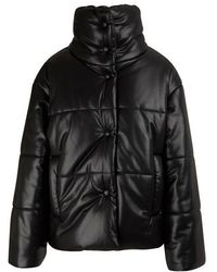 Nanushka Hide Vegan Leather Puffer Jacket - Black