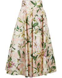 Dolce & Gabbana High Waist Printed Shantung Midi Skirt - Pink
