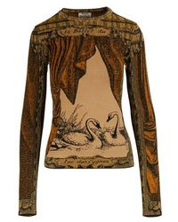 Acne Studios Bedrucktes Langarm-T-Shirt - Braun