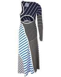 Marine Serre Marinieres Embound Dress - Blue
