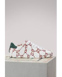 Gucci - White GG Logo Ace Sneakers - Lyst