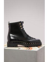 Valentino - Rockstuds Flat Boots - Lyst