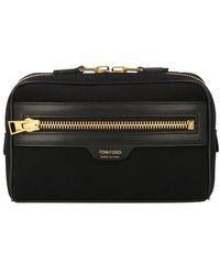 Tom Ford Canvas & Leather Belt Bag - Black