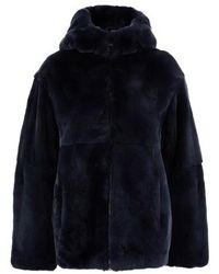 Yves Salomon Rabbit Fur Jacket - Blue