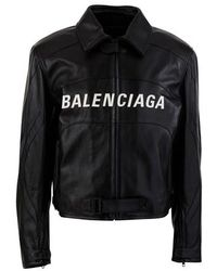 Balenciaga Veste en cuir - Noir